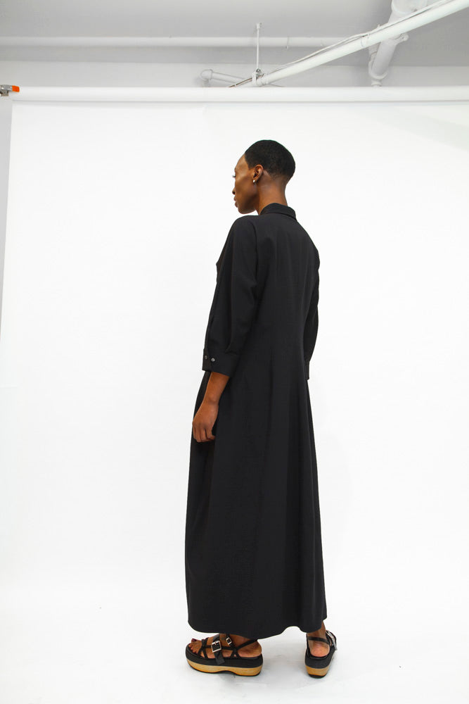 JIL SANDER | Long Shirt Dress in Navy