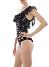 FUZZI | Dotted One-Shoulder Tulle One-Piece Swimsuit