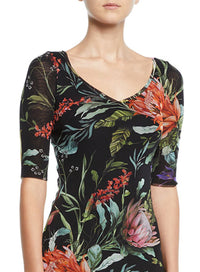 FUZZI | Botanical Floral Tulle Top