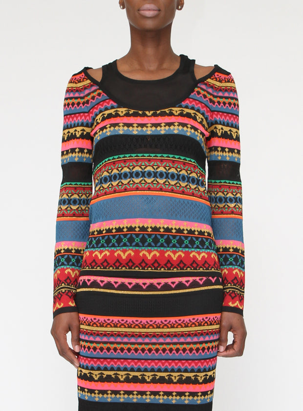 FUZZI | Multicolor Long Sleeve Stripe Top