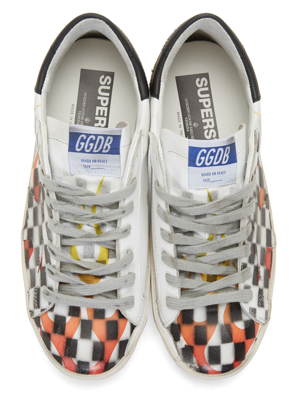 GOLDEN GOOSE | Low-Top Superstar White Flame Check 'Dama' Sneakers