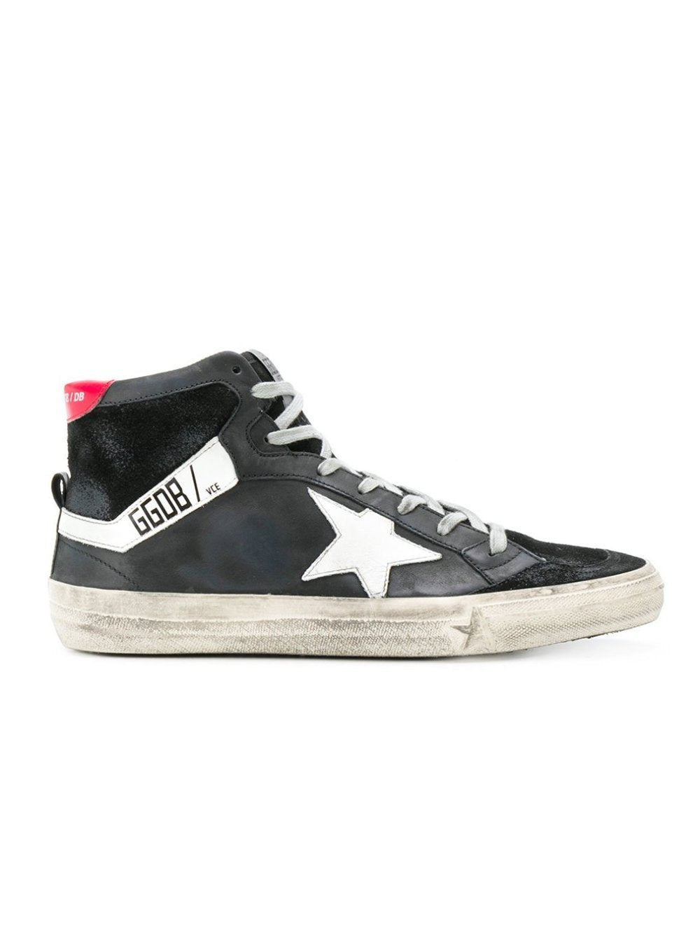 GOLDEN GOOSE | Superstar Hi-Top Sneakers in Black/Cherry Red