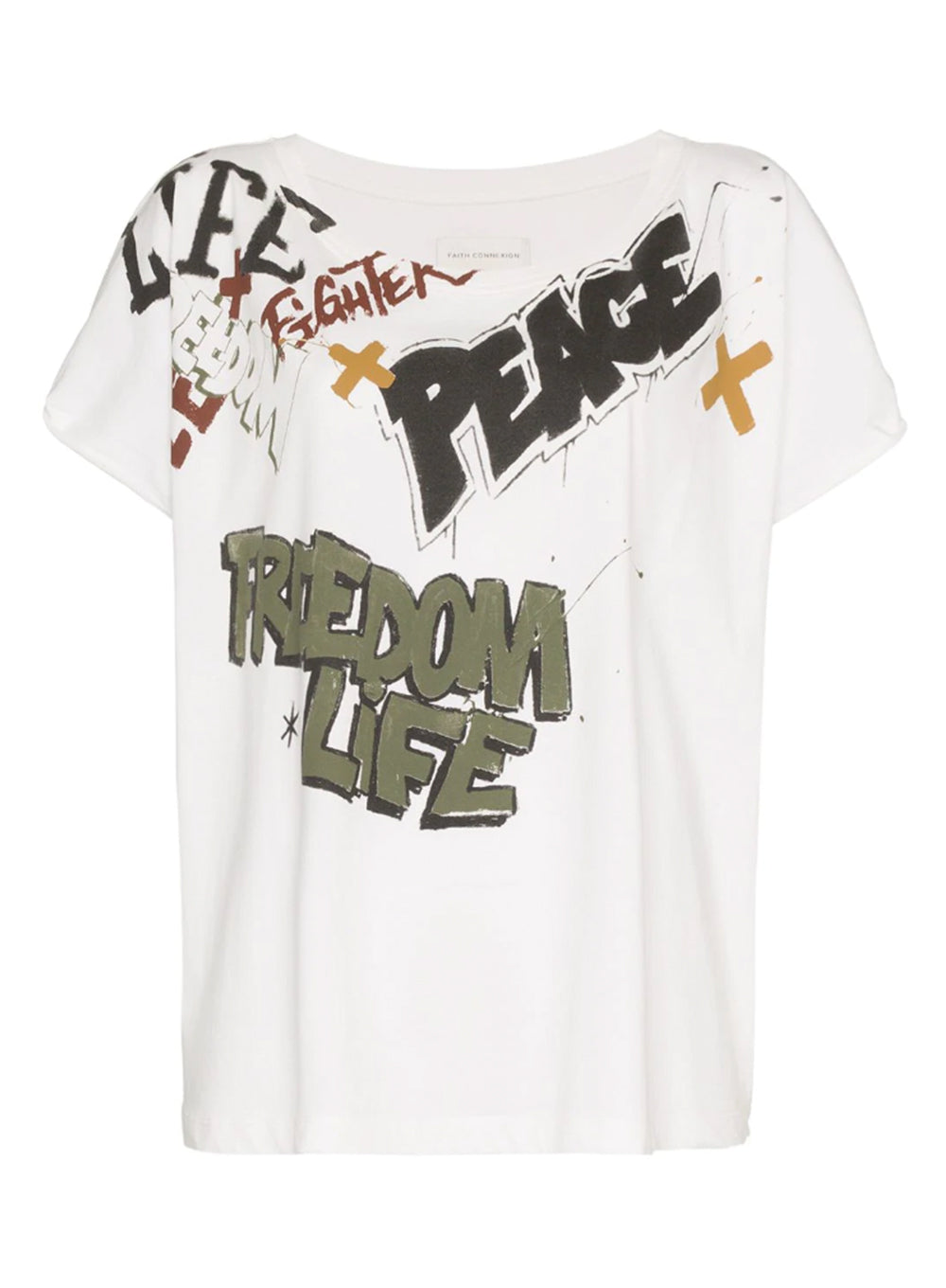 FAITH CONNEXION | Short Sleeve 'Freedom Life Peace' Graffiti Art Graphic T-Shirt