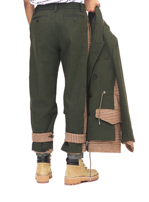 SACAI | Houndstooth Pants in Military Green
