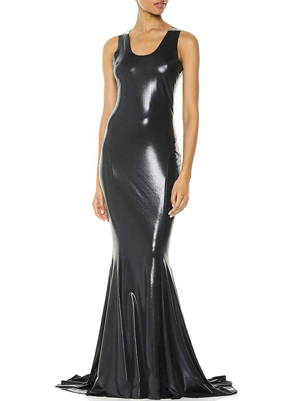 NORMA KAMALI | Metallic Racerback Fishtail Gown in Dark Gunmetal