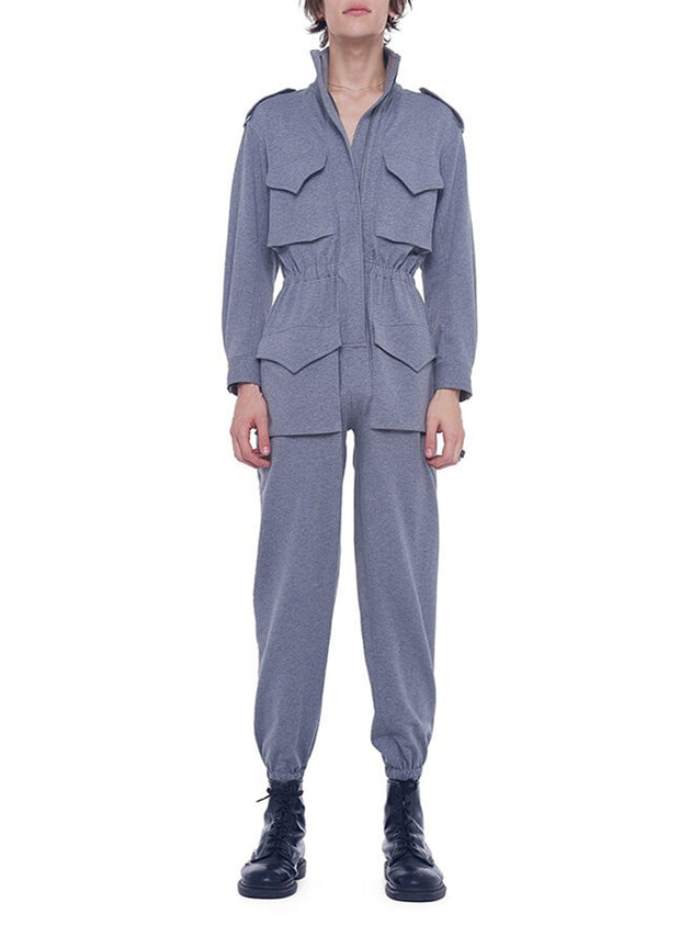 NORMA KAMALI | Turtle Cargo Jumpsuit in Medium Heather Grey