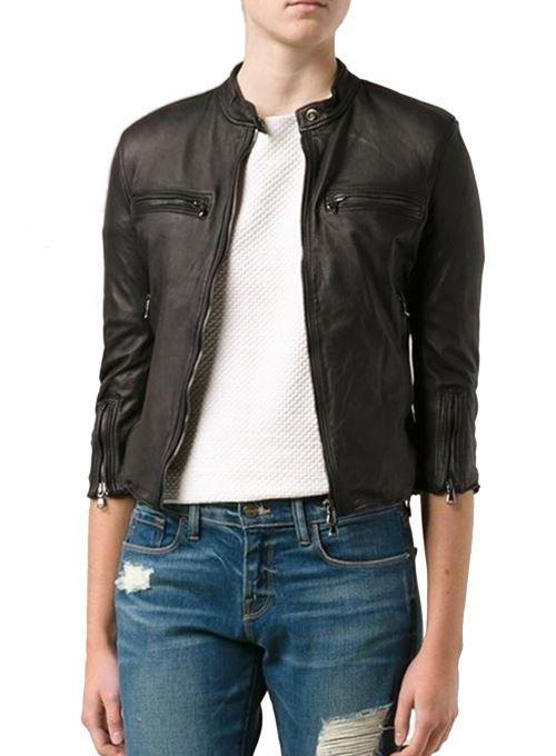 R13 | Cafe Racer Leather Motorcycle Jacket in Black