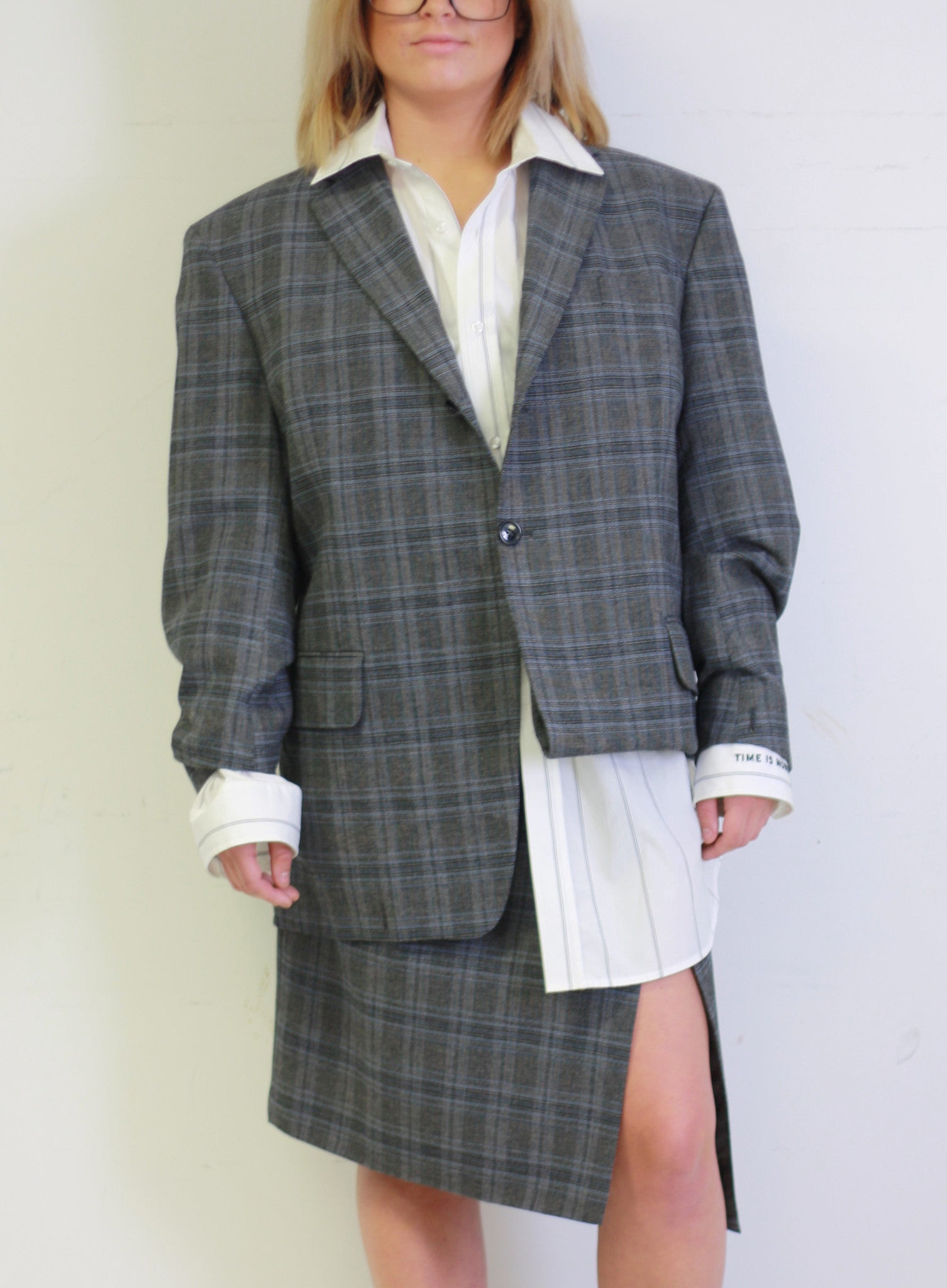 Vetements | Fold Up Checked Suit Jacket