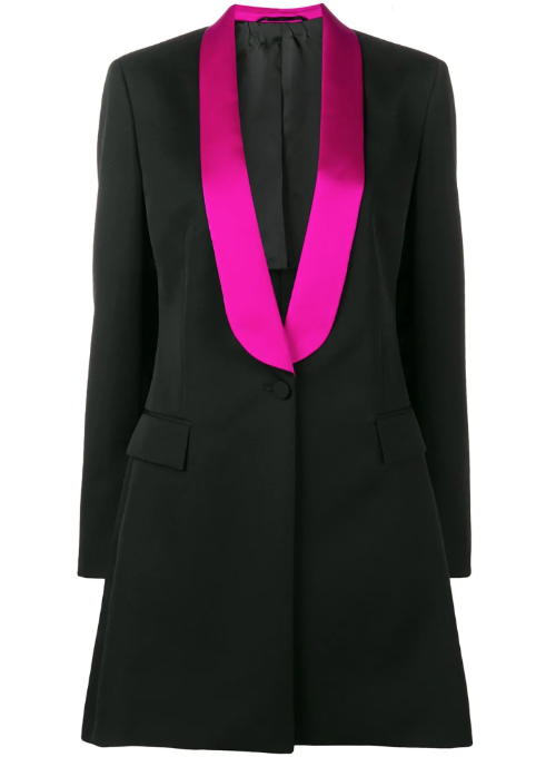 CALVIN KLEIN 205W39NYC | Tux-Lapel One-Button Long Wool Satin Blazer Coat
