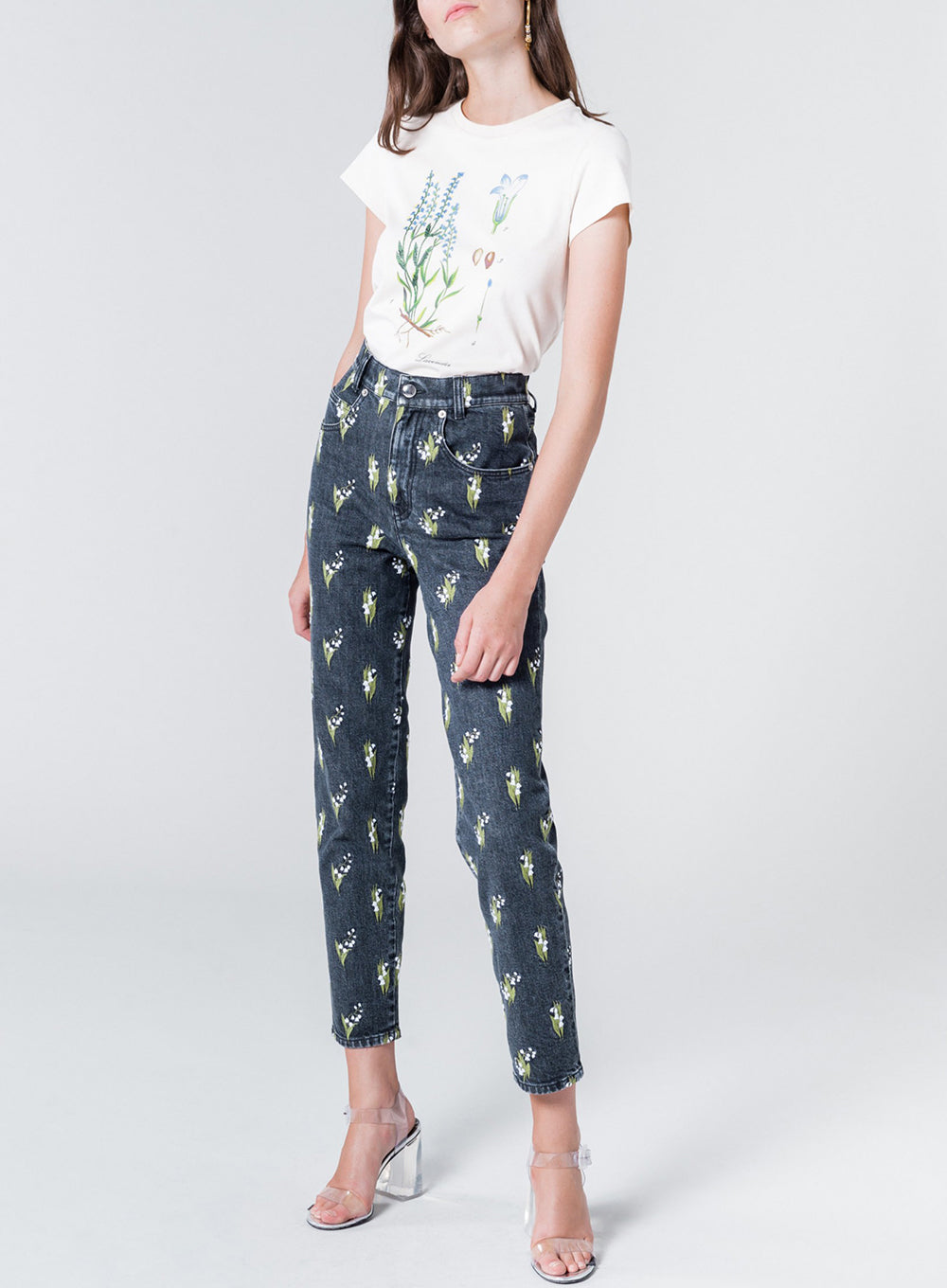 SONIA RYKIEL | Denim Trousers in Lily of the Valley Print