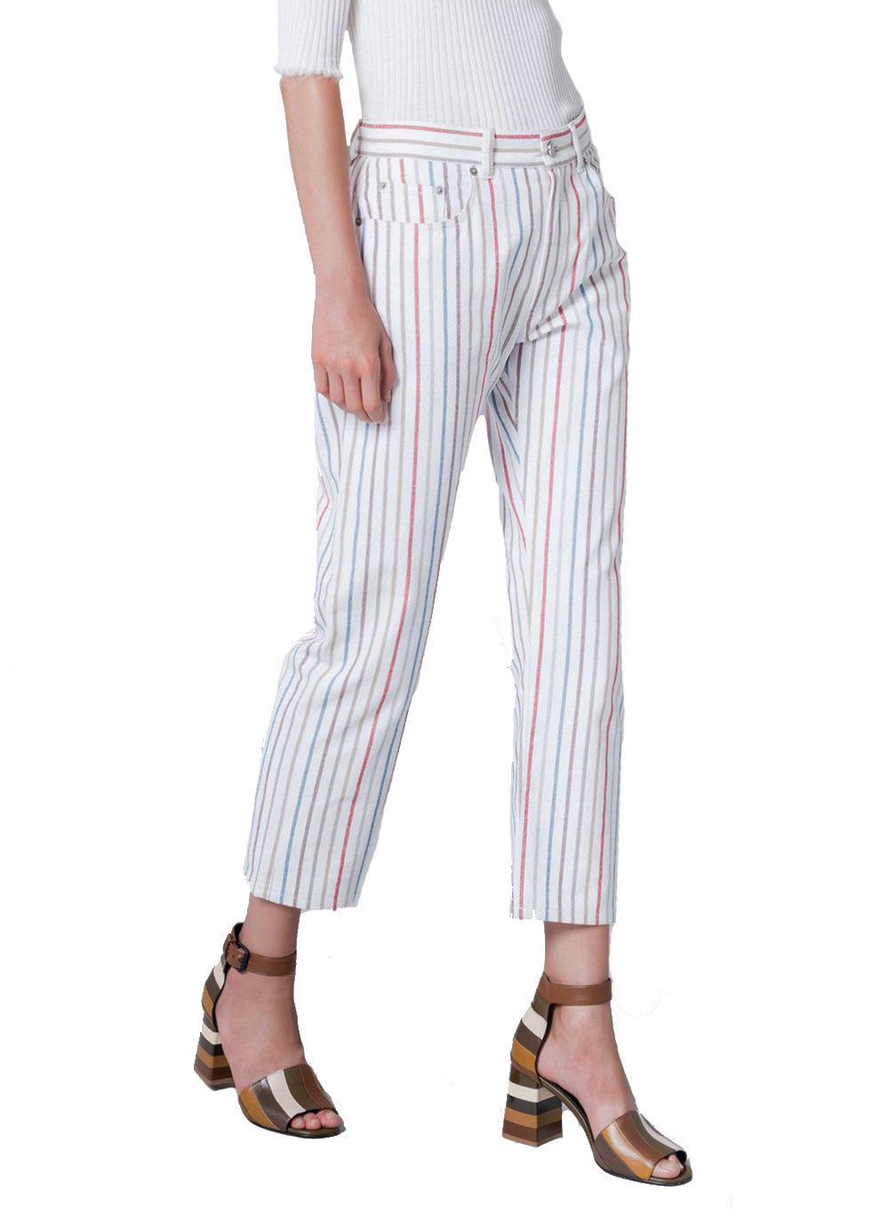 SONIA RYKIEL | Striped Cotton Boyfriend-Fit Jeans
