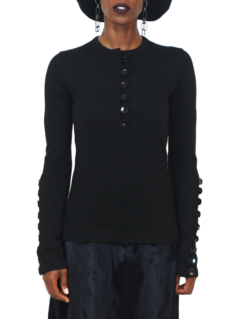 JIL SANDER | Wool Buttoned Knit Sweater in Black