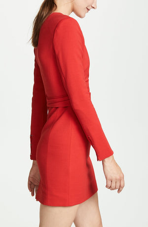 JONATHAN SIMKHAI | Bold-Shoulder Stretch Wrap Dress