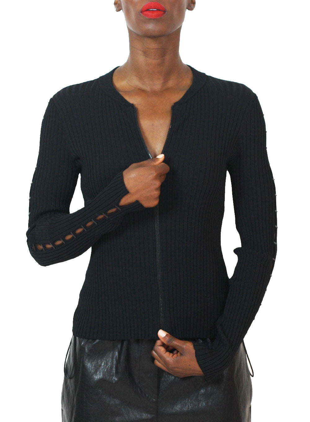 JONATHAN SIMKHAI | Staple Knit Zip-Up Jacket in Black
