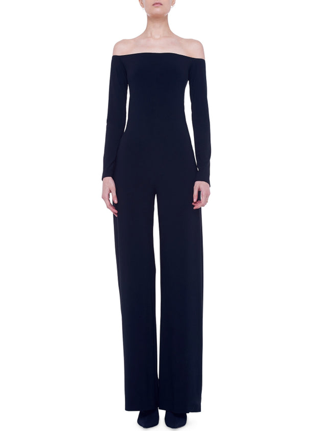 NORMA KAMALI | Long Sleeve Off-Shoulder Jumpsuit in Black
