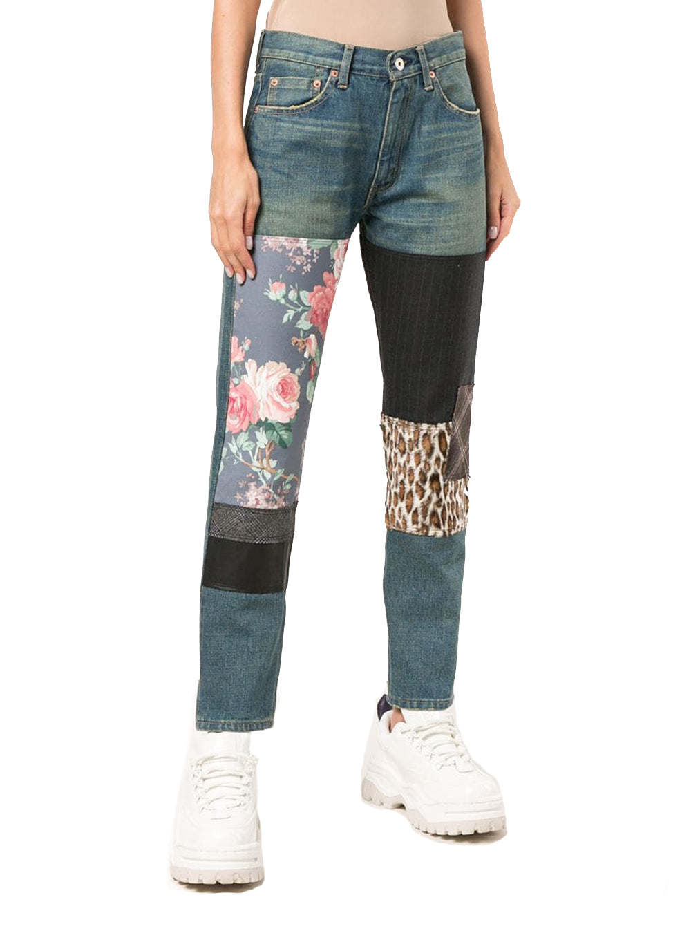 JUNYA WATANABE | Skinny Floral and Stripe Patchwork Denim
