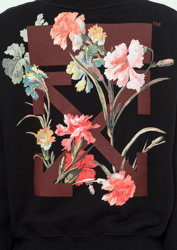 OFF-WHITE | Flowers Carryover Crop Crewneck Sweatshirt in Black