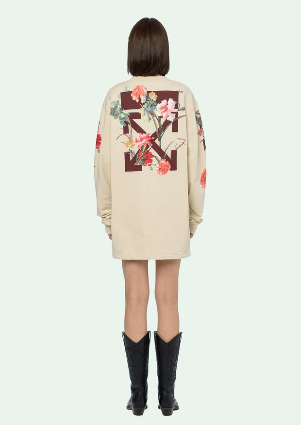 OFF-WHITE | Flowers Carryover Sweatshirt Dress in White