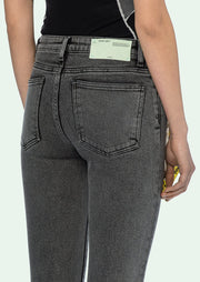 OFF-WHITE | Crop Denim Jeans, Dark Grey Wash