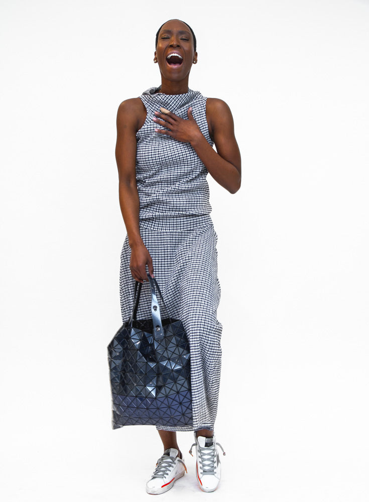 JIL SANDER | Checked Draped Midi Skirt