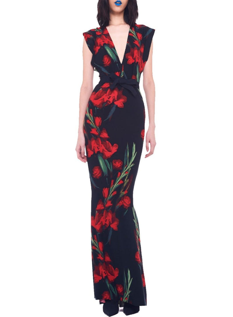 NORMA KAMALI | V-Neck Rectangle Gown in Blooming Rose