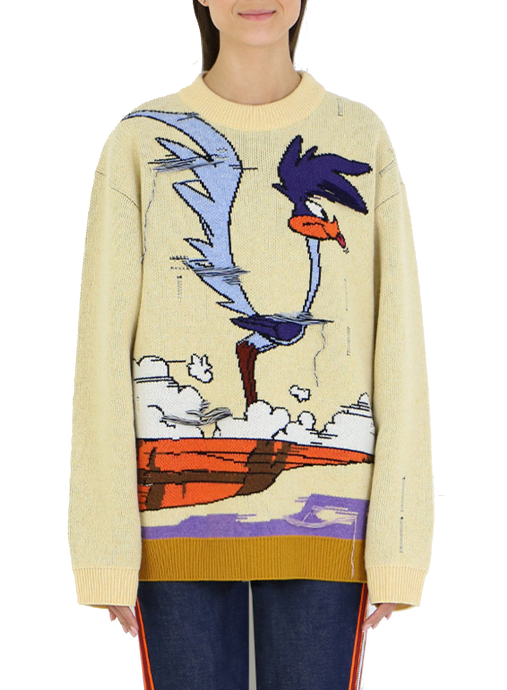 CALVIN KLEIN 205W39NYC | Looney Tunes Knit Crewneck Sweater in Yellow