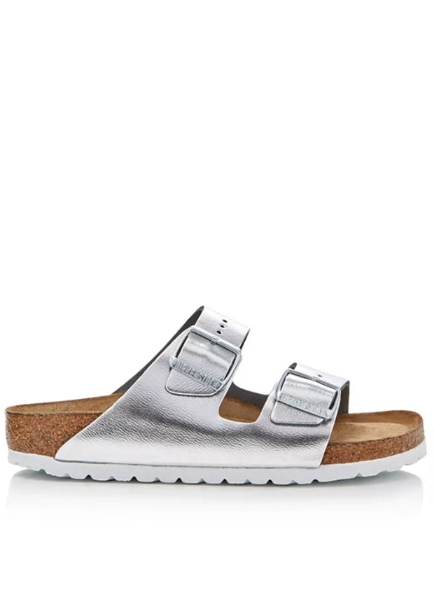 BIRKENSTOCK | Arizona Soft Footbed Metallic Sandal, Silver & White