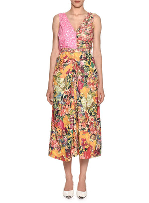 MARNI | V-Neck Mixed-Print A-Line Midi Dress
