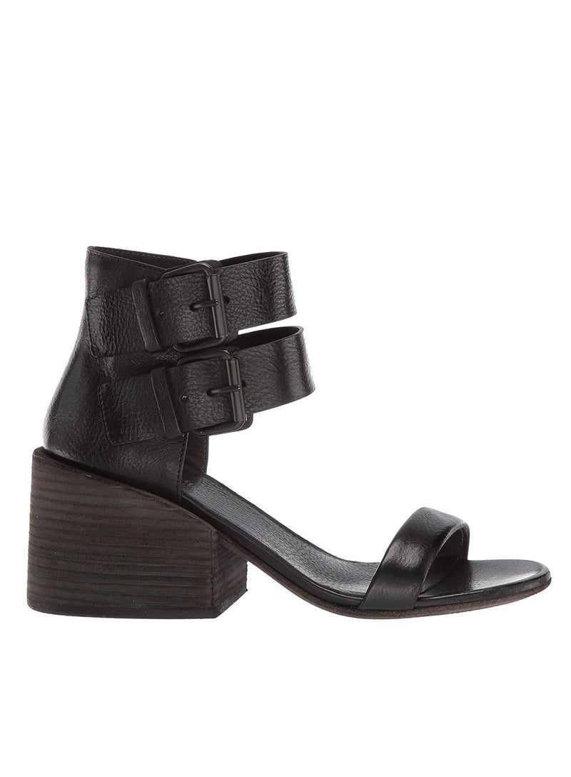 MARSÈLL | 'Taccone' Stack Heel Double Strap Sandals in Black