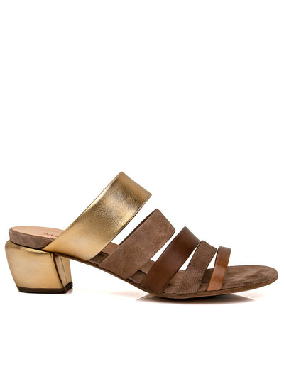 MARSÈLL | 'Nespoletta' Sandal in Antique Gold and Nocciola