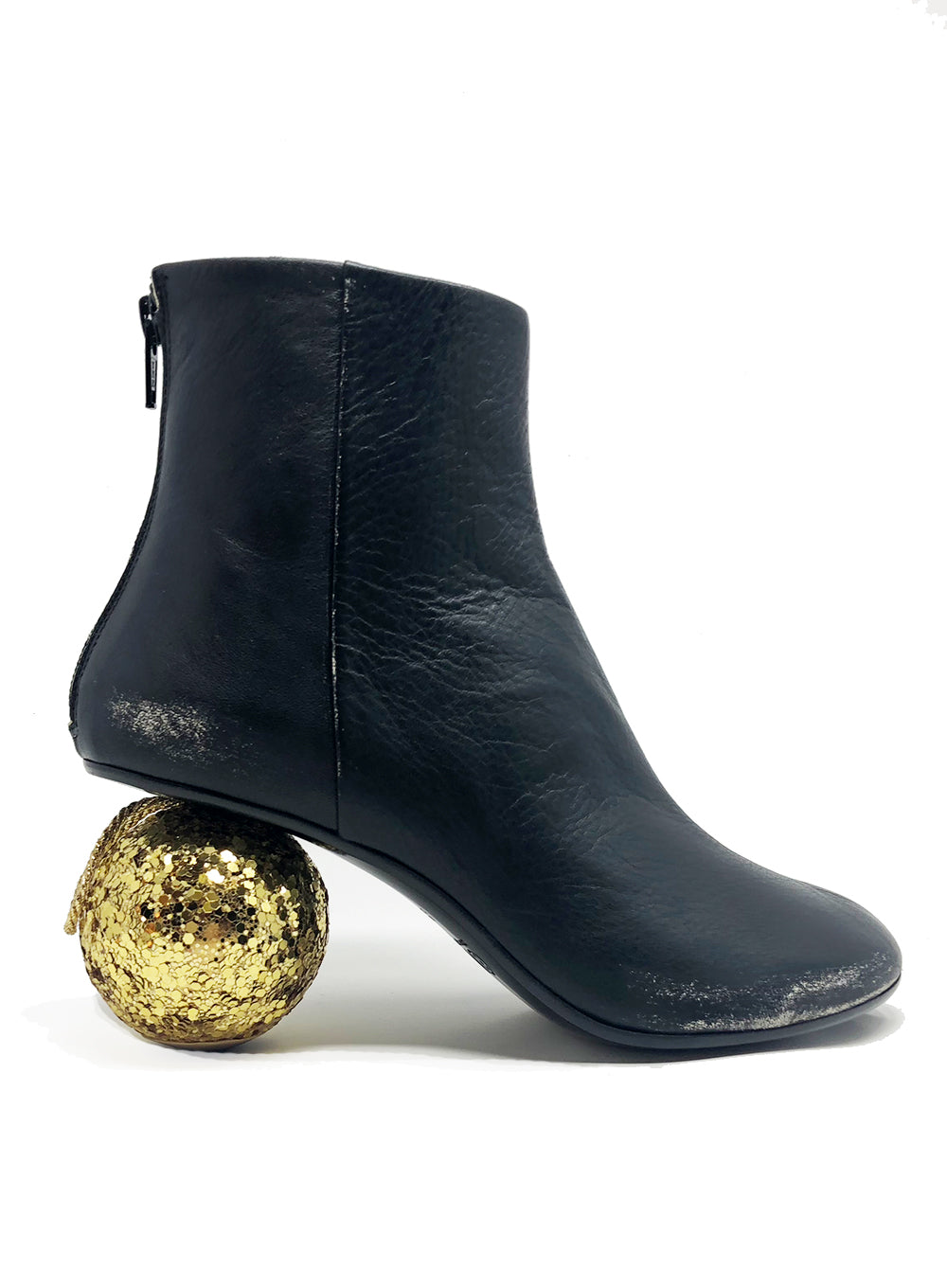 MM6 MAISON MARGIELA | Gold Glitter Ball Heel Ankle Boots