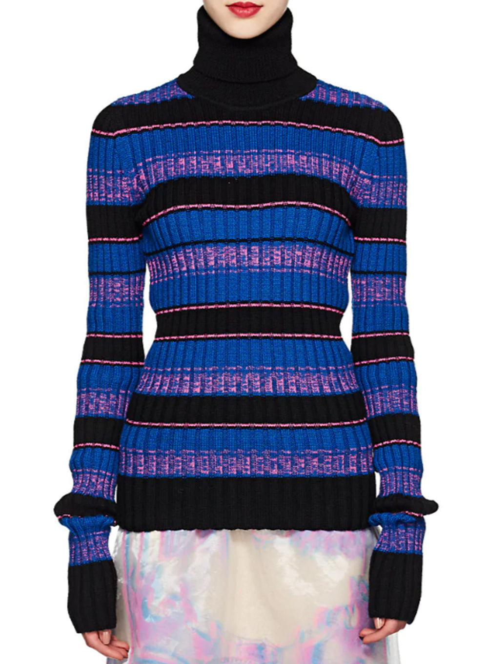 MAISON MARGIELA | Open-Knit Back Detail Striped Turtleneck Sweater