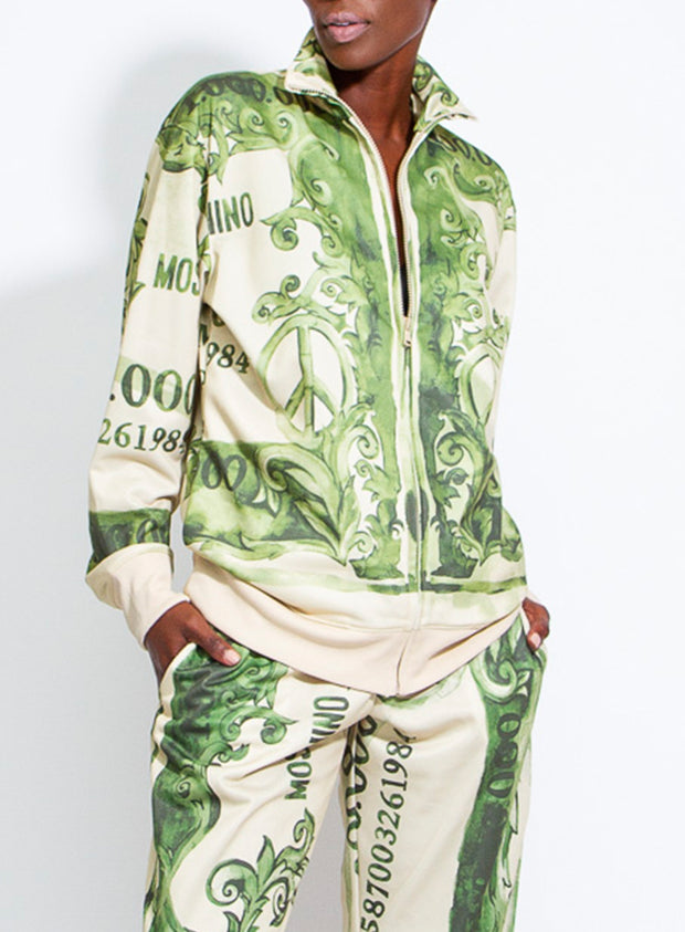MOSCHINO | Unisex Fantasy Print Dollar Bill Zip-Up Sweatshirt