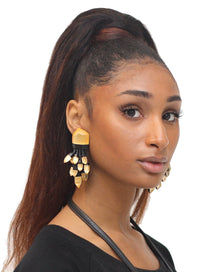 MONIES | Leather and Lucite Cluster Earrings