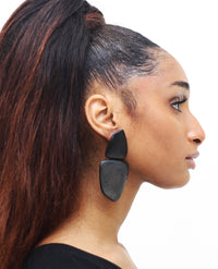 MONIES | Wooden Drop Earrings in Black