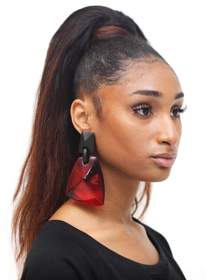 MONIES | Black and Red Drop Earrings