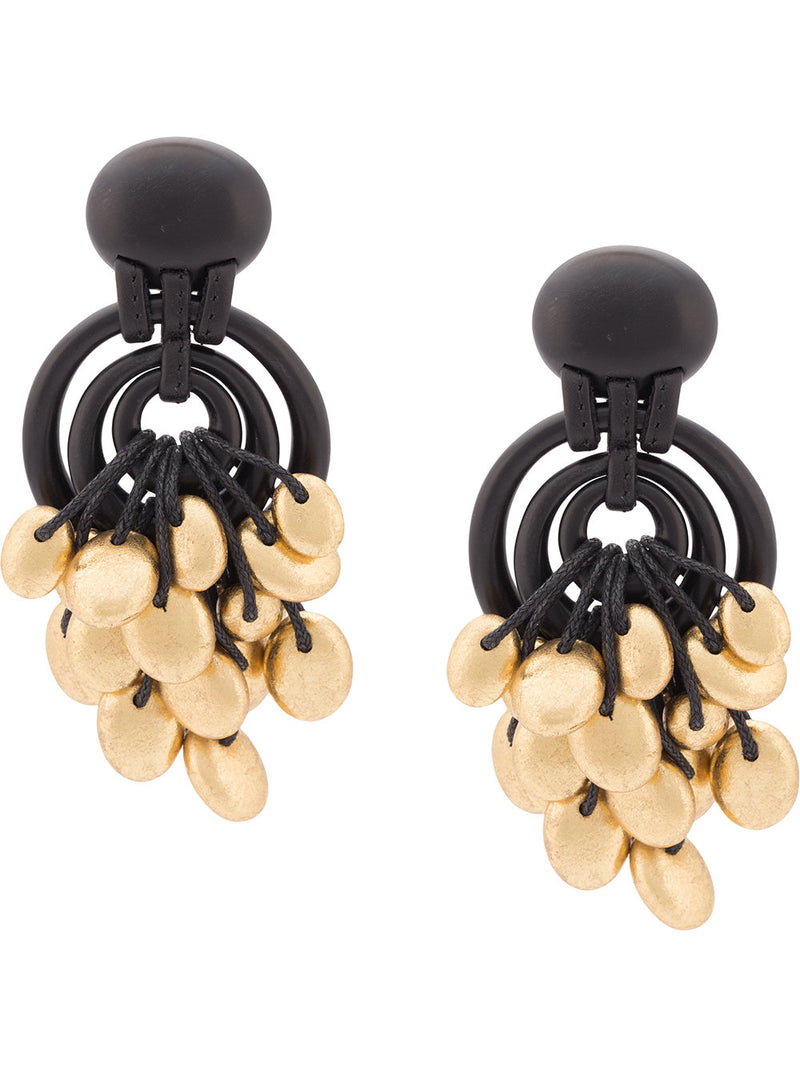 MONIES | Black and Gold-Toned Embellished Oversized Earrings
