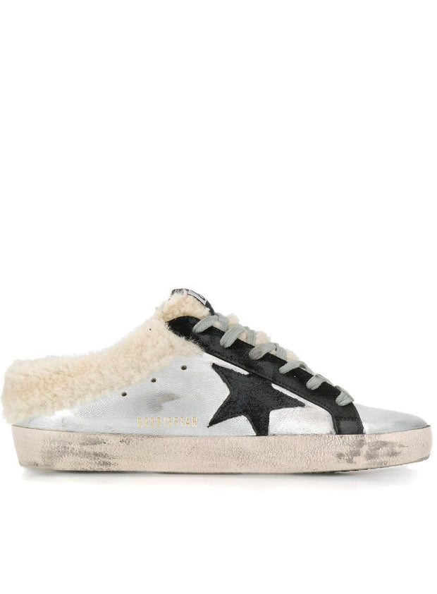 GOLDEN GOOSE | Superstar Fur Mule Sneakers in Silver/Black