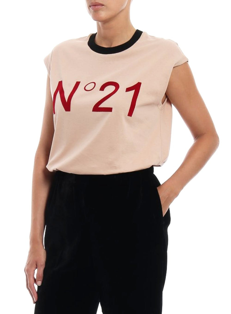 N°21 | Branded N°21 Logo T-Shirt in Nude