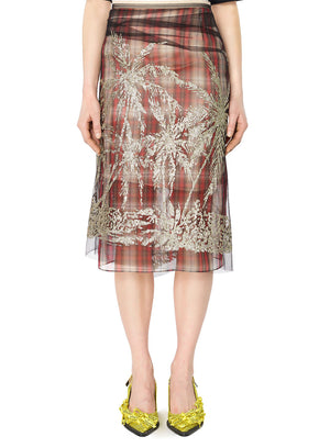 N°21 | Palm Print Organdy Skirt With Tulle