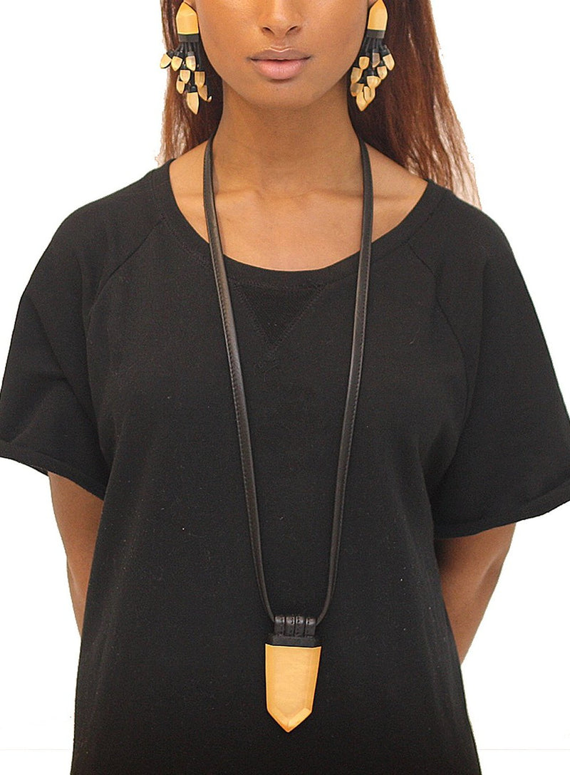 MONIES | Leather and Lucite Necklace