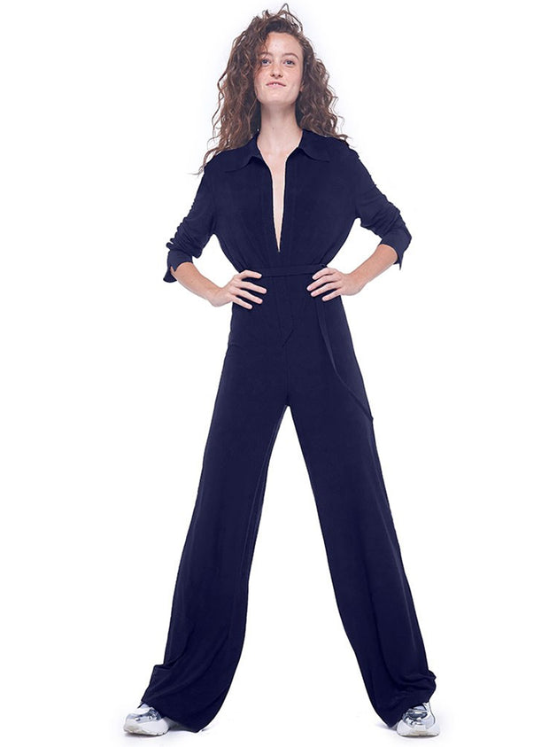 NORMA KAMALI | Shirt Cropped Straight Leg Jumpsuit in Midnight