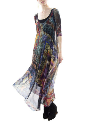 FUZZI | Elbow Sleeve Nero-Print Tulle Midi Dress