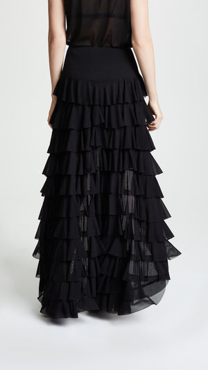 NORMA KAMALI | Asymmetric Ruffle Hi Low Skirt in Black
