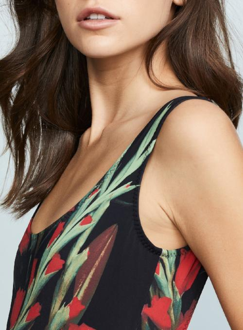 NORMA KAMALI | Blooming Rose 'Super Low Back Mio' One-Piece Swimsuit