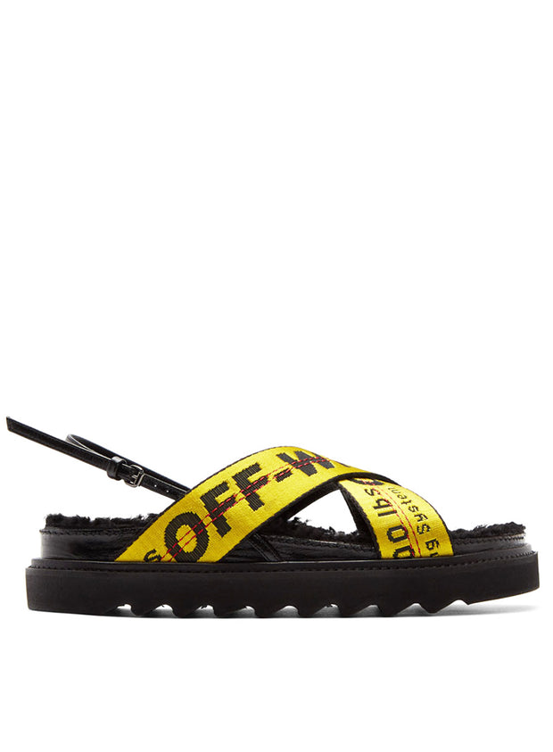 OFF-WHITE | Shearling Industrial Belt Sandal, Black/Yellow