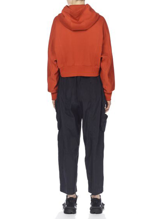 Y-3 | Women's Stacked Badge Cropped Hoodie in Orange