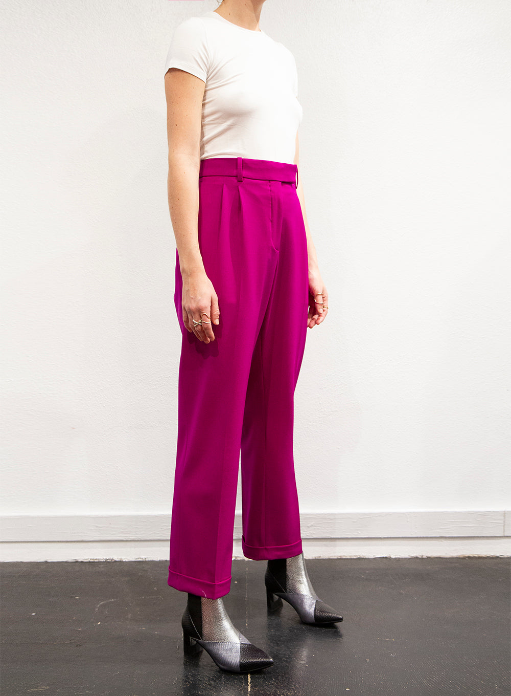 CALVIN KLEIN 205W39NYC | Magenta Stretch Wool Satin Gabardine Pants