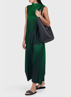 PLEATS PLEASE ISSEY MIYAKE | Neon Cropped Pleated Pants in Green