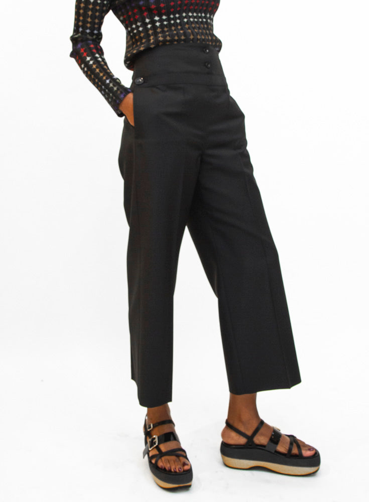 JIL SANDER | Blue Greg Cropped Woven Pants in Navy